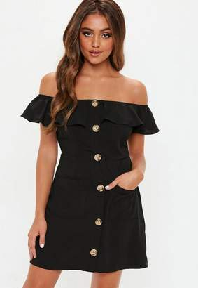 Missguided Black Bardot Frill Button Front Aline Dress