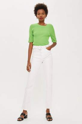 Topshop MOTO White Belted Straight Leg Jeans