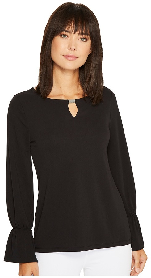 Calvin Klein - Long Sleeve Top with Flare Sleeve and Hardware Women's Clothing