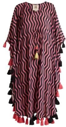 Figue Amrita Wave Print Tassel Cotton Blend Kaftan - Womens - Pink Multi