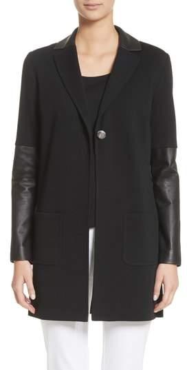 Leather Trim Milano Knit Wool Jacket