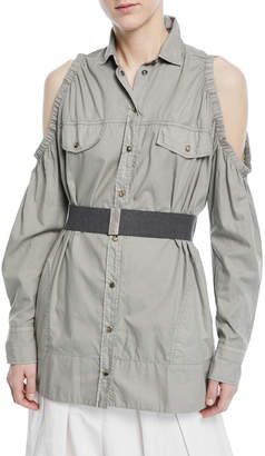 Brunello Cucinelli Cold-Shoulder Snap-Front Cotton Western Shirt with Belt