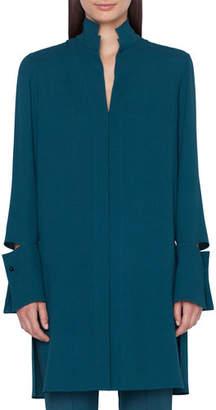 Akris Detachable-Cuff Silk-Crepe Button-Front Tunic