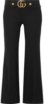 Gucci Embellished Stretch-crepe Flared Pants