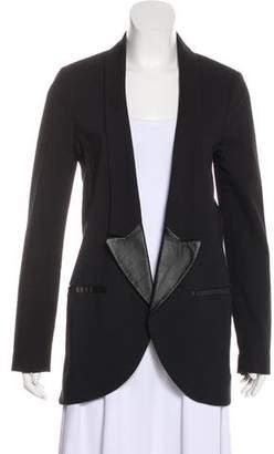 Tibi Leather-Trimmed Long Sleeve Blazer