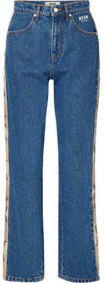 MSGM Snake-effect Faux Leather-trimmed High-rise Straight-leg Jeans - Mid denim