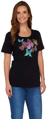 Factory Quacker Butterfly Embellished Short Sleeve T-shirt