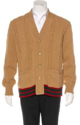 Gucci 2016 Wool Web-Trimmed Cable Knit Cardigan w/ Tags