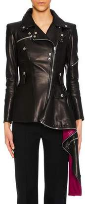 Alexander McQueen Zip-Front Leather Biker Jacket w/ Contrast Asymmetric Hem