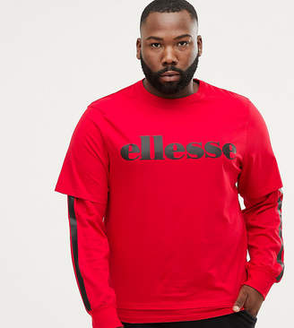 Ellesse Layered Long Sleeve T-Shirt With Side Stripe In Red