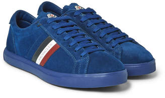 ... Moncler La Monaco Leather-Trimmed Suede Sneakers