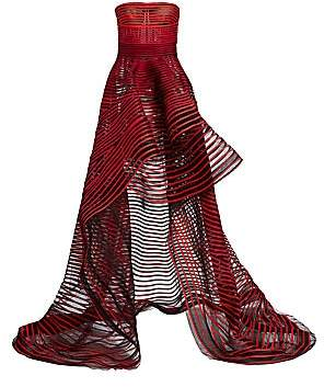 Oscar de la Renta Women's Striped Strapless High-Low Gown