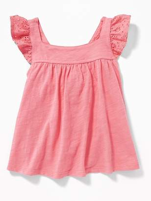 Old Navy Slub-Knit Eyelet-Sleeve Cross-Back Top for Toddler Girls