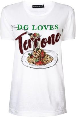 Dolce & Gabbana pasta graphic T-shirt