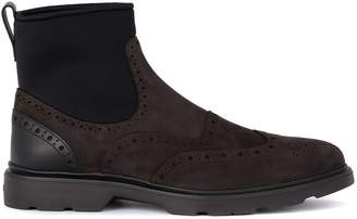 Hogan H304 Brown Leather Ankle Boots With Black Sock And Pierced Parts