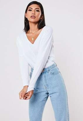 Missguided White Rib V Neck Long Sleeve Oversized T Shirt