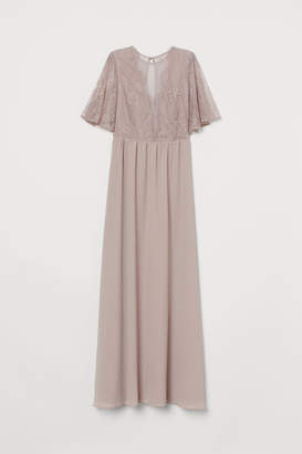 H&M Long Dress with Lace Details - Brown