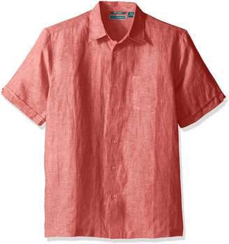 Cubavera Cuba Vera Men's Big and Tall Cross Dyed 100% Linen Short Sleeve Woven Shirt