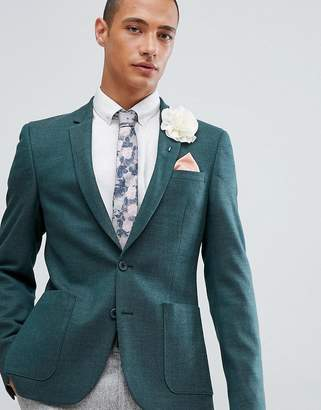 Asos DESIGN Wedding Skinny Blazer In Green Wool Mix