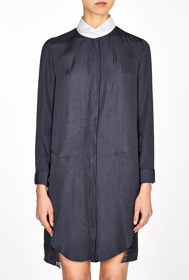 Carven Lace Insert Twill Shirt Dress