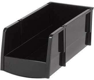 clear IRIS USA IRIS Large Stacking Storage Bin, Black Set of 8