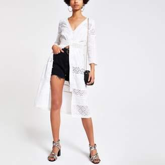 5e8116e4adbb0 River Island Womens White embroidered shirt dress