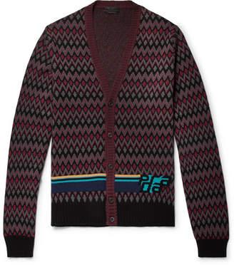 Prada Slim-Fit Logo-Intarsia Virgin Wool And Cashmere-Blend Cardigan