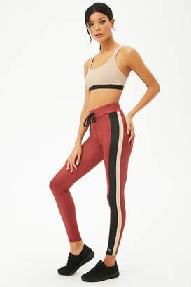 Forever 21 Active Contrast Striped Drawstring Leggings