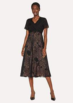 Paul Smith Women's Black 'Ocean' Embroidered Silk-Blend Midi Dress