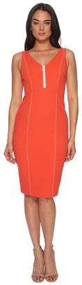 Donna Morgan Sleeveless Crepe V-Neck Dress with Front Zipper Women's Dress