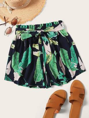 285a1a5502fc Shein Plus Paperbag Waist Belted Tropical Print Shorts