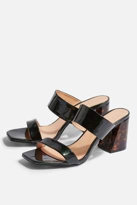 6908e61d2fe3f Topshop Womens Selina Green Tortoiseshell Heel Sandals - Green