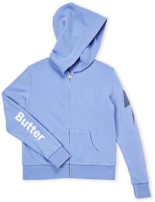 9302a47de42 ... Butter Shoes Girls 7-16) Blue Studded Skull Zip-Up Hoodie