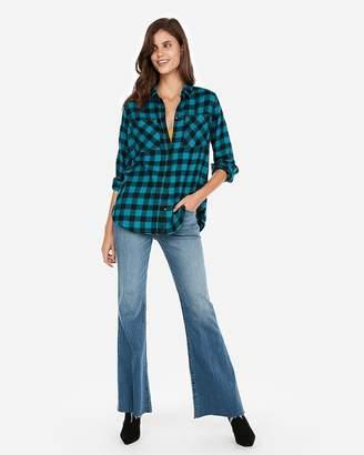 Express Check Plaid Flannel Boyfriend Shirt