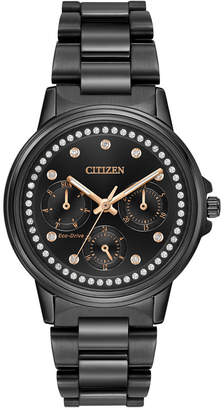Citizen Women's Eco-Drive Nighthawk Black Ion-Plated Stainless Steel Bracelet Watch 36mm FD2047-58E
