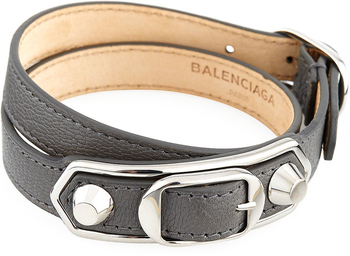 Balenciaga  Balenciaga Metallic Edge Leather Wrap Bracelet, Gray