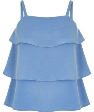 River Island Girls blue tiered frill cami top