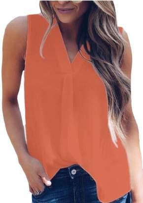 pujingge-CA Tank Top V-Neck Summer Womens Chiffon Sleeveless Blouse XL