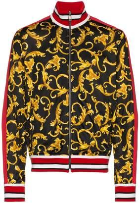 Versace baroque print cotton blend zip jacket