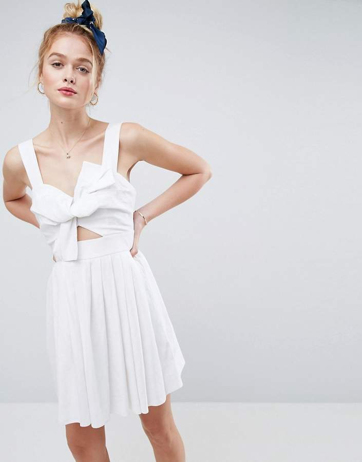 Asos ASOS Bow Detail Cut Out Skater Dress in Linen