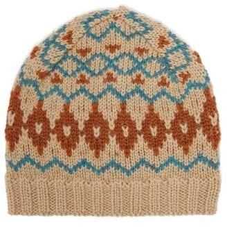 Acne Studios Fair Isle Wool Hat - Womens - Blue