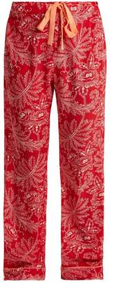Diane von Furstenberg Floral Print Silk Crepe De Chine Pyjama Trousers - Womens - Red Multi