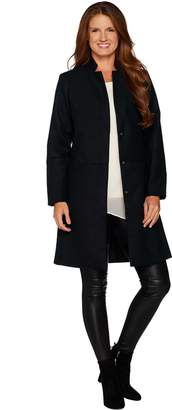 Halston H By H by Knee Length Snap Front Coat with Notch Collar