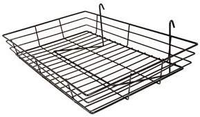 "Econoco - BLKS92 Black Wire Basket, 24"" Width x 15"" Depth x 4-1/2"" Height - Pack of 4"