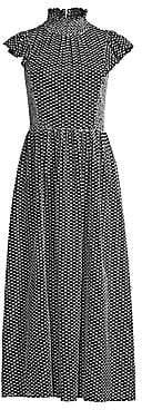 Kate Spade Women's Smocked High-Neck Midi Dress