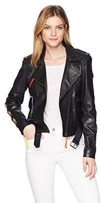 Nicole Miller Women's Amazon Embroidery Nailhead Moto Jacket