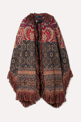 Etro Leather-trimmed Fringed Wool-blend Jacquard Cape - Red
