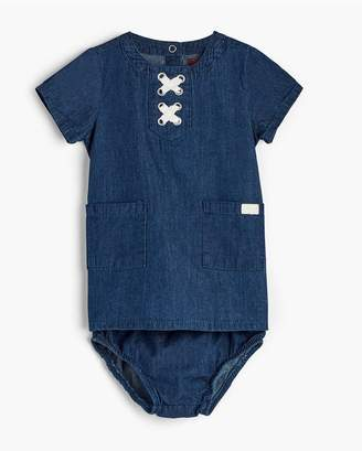 7 For All Mankind Kids Girls 0-9 Lace Up Dress In Dark Wash