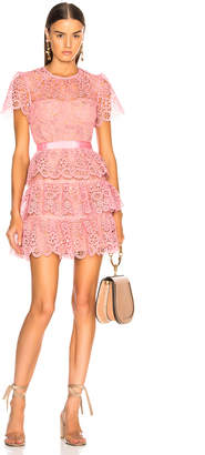 Self-Portrait Self Portrait Pink Tiered Lace Mini Dress