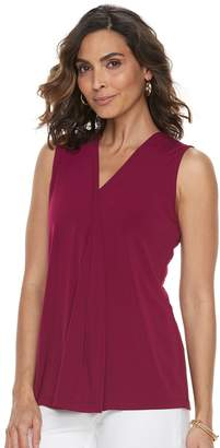 Dana Buchman Petite Pleated V-Neck Tank